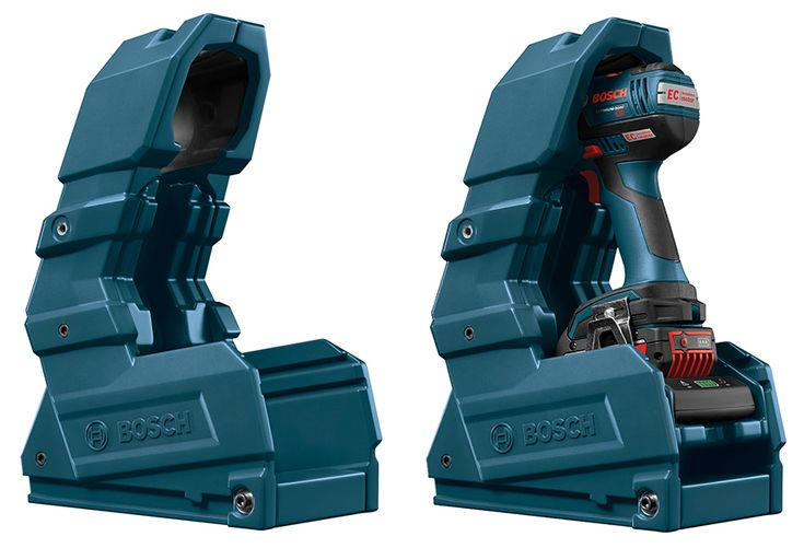 Power tool manufacturer Bosch has rolled out wireless charging for 18-volt cordless tools before any of their competitors. An inductive charger transmits electricity to the battery placed atop it, meaning for the first time one doesn't have to disconnect the battery to juice it up.