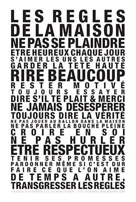 """Pour rappeler à tous les règles essentielles de la vie en famille, et surtout pour savoir les transgresser ! Poster """"La Cabane à Eugène""""."""