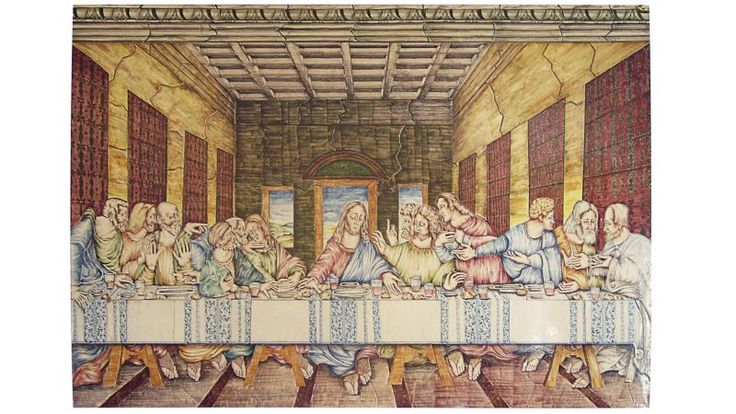 Hidden joints panel Last Supper. Panel composed by ceramic tiles made with the technique of the hidden joints.