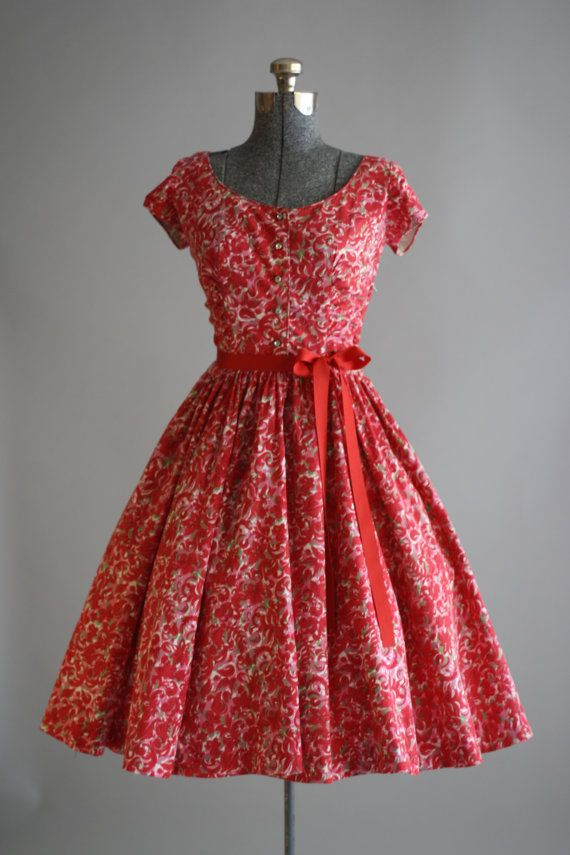 Vintage 1950s Dress / 50s Cotton Dress / Jerry Gilden Red and