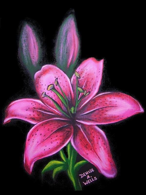 Pink Lily Tattoo Design Over Black Background