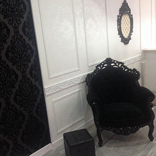 Romantic gothic baroque black whie bedroom damask velvet
