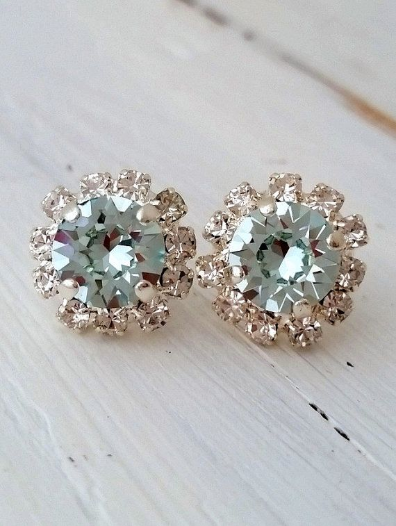 Blue earrings | aquamarine stud earrings | Light blue crystal earrings by EldorTinaJewelry | http://etsy.me/1Oftkxt