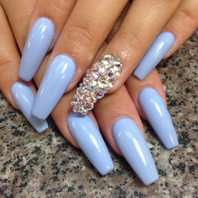 Pale Blue Purple Diamond One Nail Single Nails Dope Nails Pinterest Rhinestones Ps And