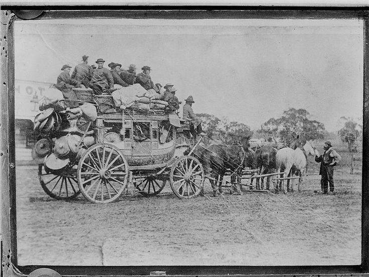 PHOTO: IMMIGRANTS ON THE GOLDFIELDS: Chinese on stage coach to goldfields. The gold rush attracted an influx of migrants from around the world, within a year the Bendigo sheep station was transformed into a major settlement in the newly proclaimed Colony of Victoria.