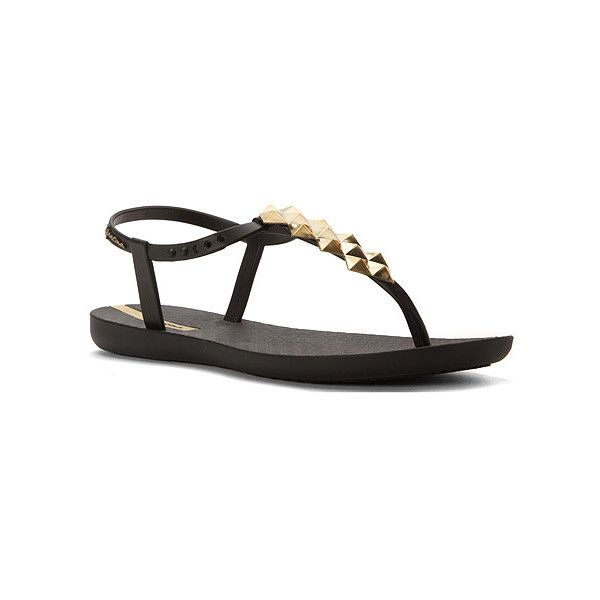 Ipanema Cleo Shine Sandals ($32) ❤ liked on Polyvore featuring shoes, sandals, flip flops, women's, embellished shoes, summer shoes, metallic sandals, metallic strappy sandals and glossy shoes