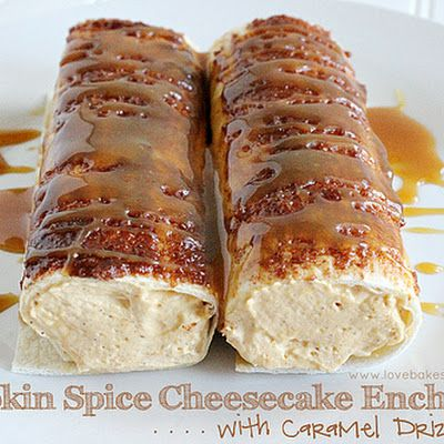 Pumpkin Spice Cheesecake Enchiladas with Caramel Drizzle SO DELICIOUS THAT YOUR MOUTH SHOULD BE WATERING. EASY TO MAKE WITH PUMPKIN, CREAM CHEESE, SPICES WITH WHIPPED CREAM, THAT IS PLACED IN A FLOUR TORTILLAS . ROLLED IN CINNAMON SUGAR AND TOPPED OFF WITH A DELICIOUS CARAMEL SAUCE. A MUST TRY, EVERYONE WILL REALLY LOVE THIS ONE...ENJOY
