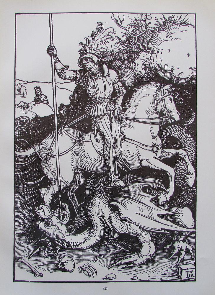 Albrecht Dürer HEILIGE GEORG und AKELEI 2 Reproduktionen Kunstdrucke Art Prints