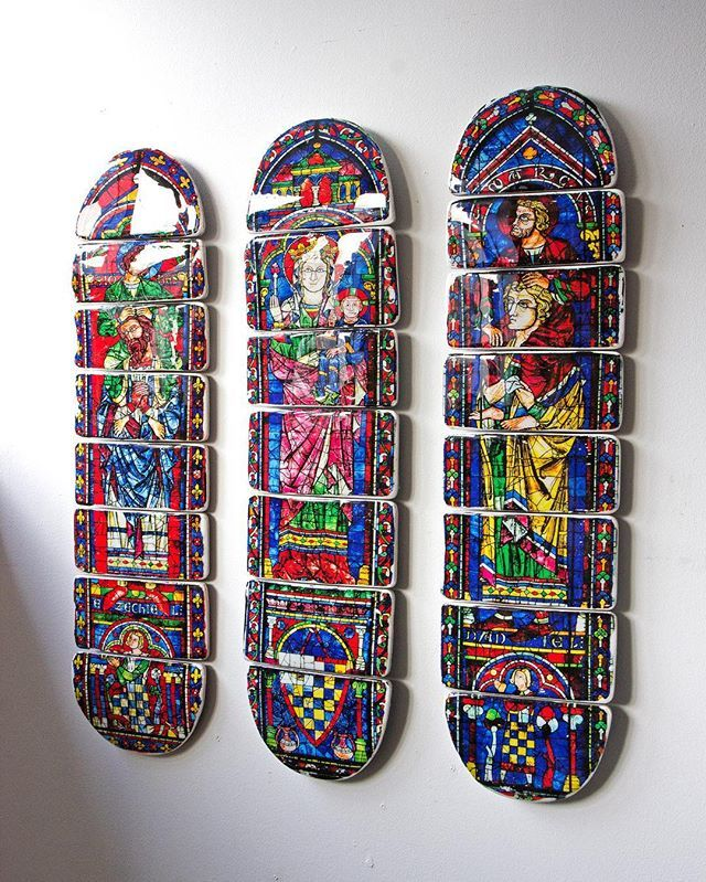 Three stained glass skateboard decks! Each deck is cut into pieces and has an image of one of the Chartres cathedral windows. I connected the pieces back together again and coated them with high gloss epoxy. www.stiger-woods.com #photographyonwood #skateboard #decks #skateboarddecks #art #artonwood #crafts #stainedglass #glasinlood #ramen #kunst #homedecoration #creation #interieur #epoxy #stigerwoods #skateboardgraphics #church #skateboarddesign #design #amsterdam #kerk #katholiek…
