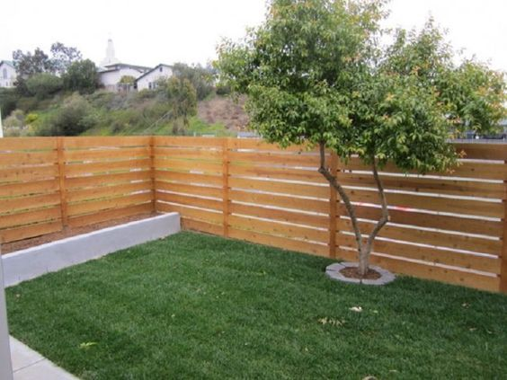 Horizontal Wood And Metal Fence