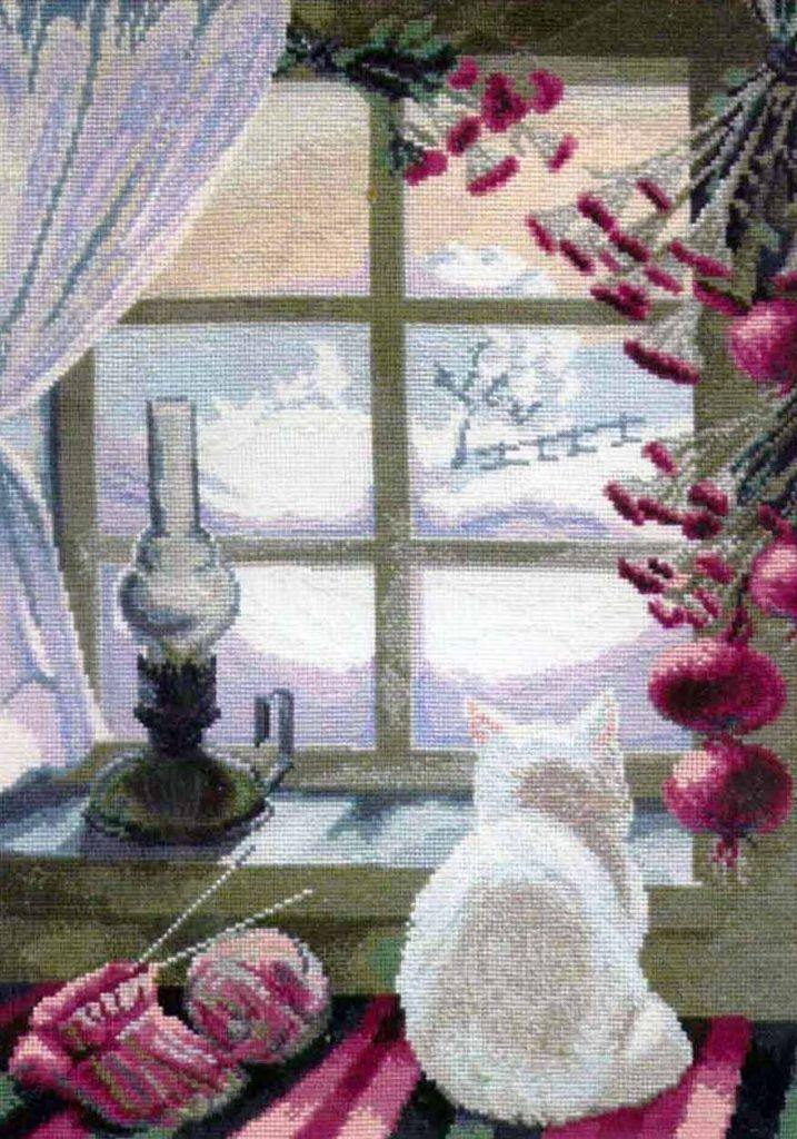 """Скачать Вышивка """"Кошка у окошка"""" бесплатно. А также другие схемы вышивок в разделах: Кошки, Домашние животные, Зима, Рукоделие, Чаривна мить"""