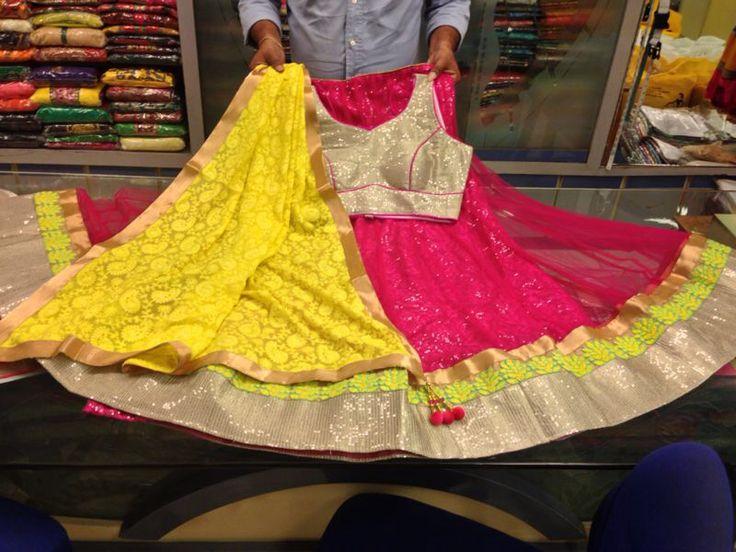 Beautiful pink and yellow chaniya choli  www.gujaratidresses.com