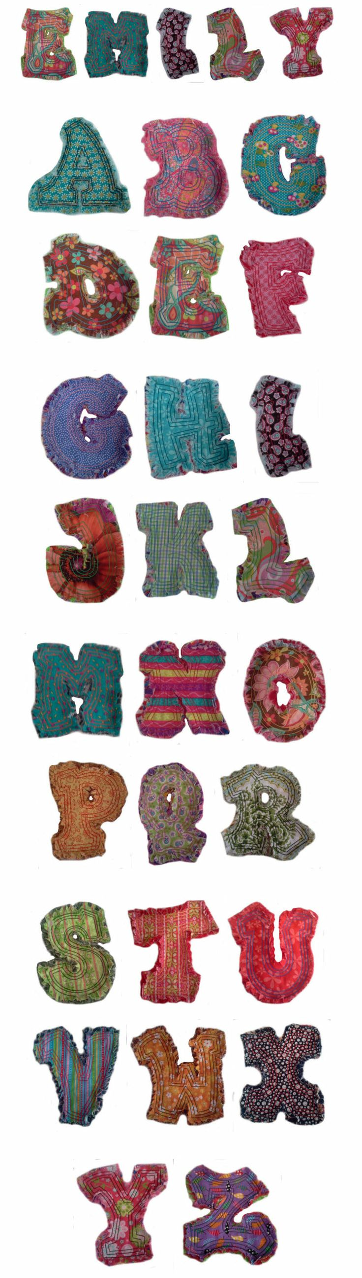 Embroidery | Free Machine Embroidery Designs | Raggedy Applique Alphabet