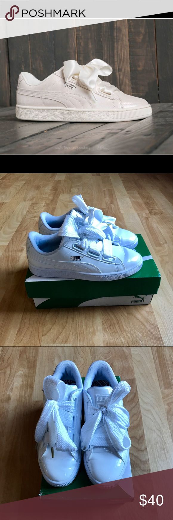 Puma basket sneakers Women's white Puma basket sneakers size 6.5W. They are in excellent condition (I wore them only 2-3 times at most). There is a little scuff on the tongue of the right sneaker (visible in pictures). If you have any questions please let me know😊❤️ Puma Shoes Sneakers