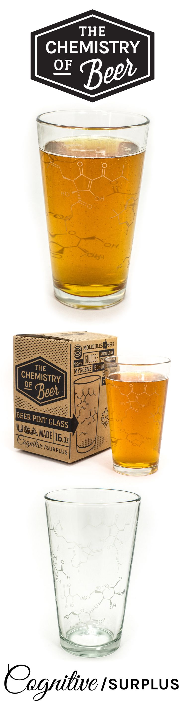 Tip one back while musing over the chemistry of your microbrew. This pint glass sports some of the molecules that give beer its characteristic flavors.
