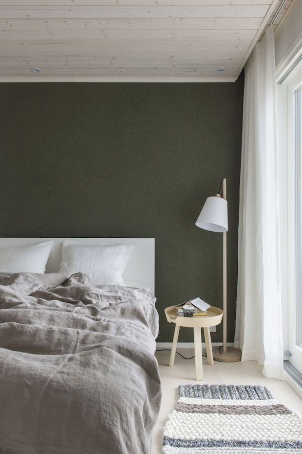 Olive green bedroom walls
