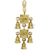 Shubh Labh Hanging Bell in Brass, Ganesh laxmi Vedicvaani.com  Wall hanging bells online india, Lakshmi ganesh wall beautiful ghanti for home decoration purpose. A beautiful Shubh Labh Hanging Bell made of brass metal. Shubh and Laabh (the two words written in Devnagari script above the Swastika) are sons of Lord Ganesha. Shubh means goodness and Laabh means benefit.This pair of decorative artifacts symbolize blessings of Lord Ganesha and Goddess Lakshmi
