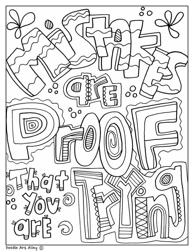 - Mistakes Are Proof That You Are Trying - Education Quotes At Classroom  Doodles From Doodle Art Alley Quote Coloring Pages, School Coloring Pages,  Coloring Pages