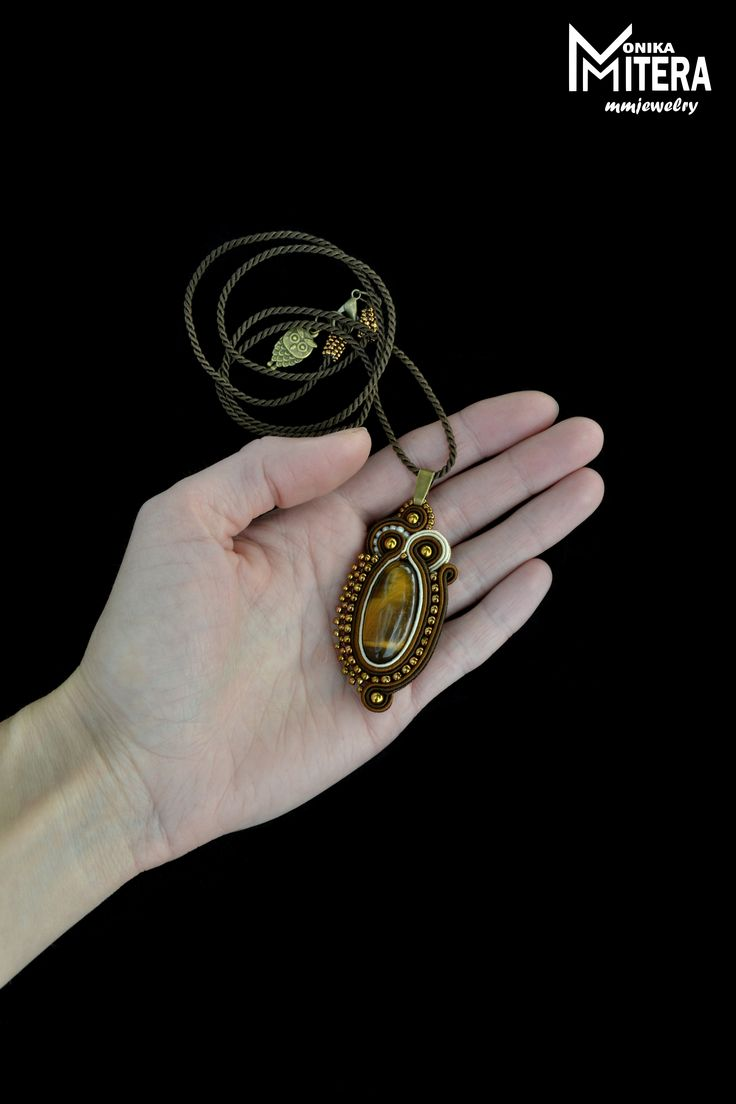 brown antique soutache bead