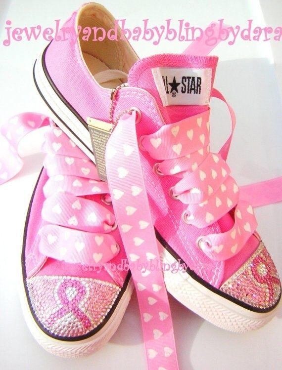 Breast Cancer Awareness Swarovski Crystal Converse Sneakers