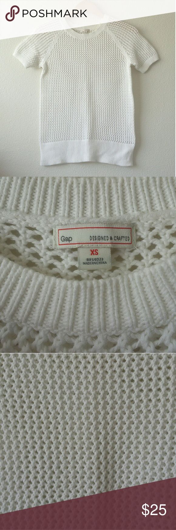 GAP white open knit sweater White open knit GAP sweater with short sleeves and a crew neck. Great for transitioning between seasons. In excellent condition. Size extra small. GAP Sweaters Crew & Scoop Necks