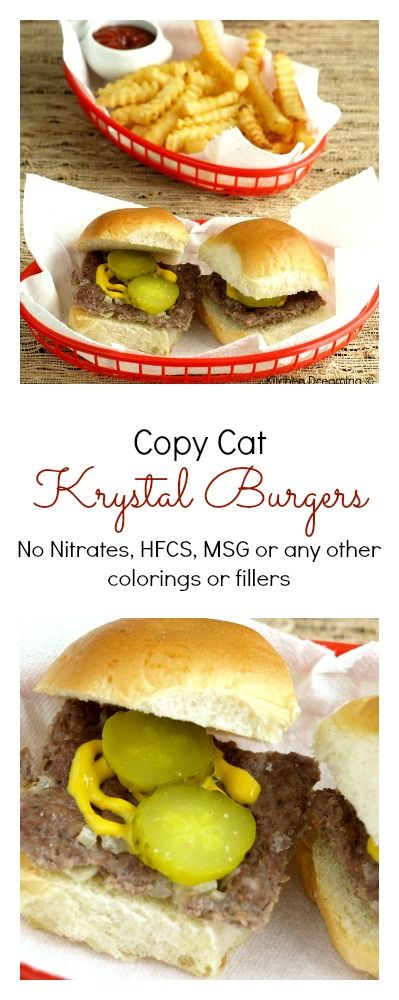 Make your own Krystal burgers at home. Controlling the ingredients is always a plus but now my husband can get his Krystal burger fix anytime he'd like with these quick and easy burgers.