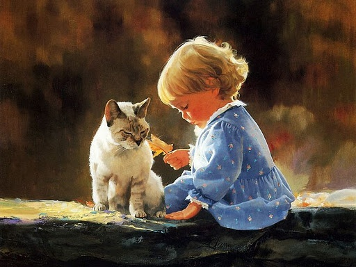 .Artists, Donald O'Connor, Cat, Donald Bottom, Baby Girls, Children Art, Oil Painting, Ears Childhood, Watercolors Painting
