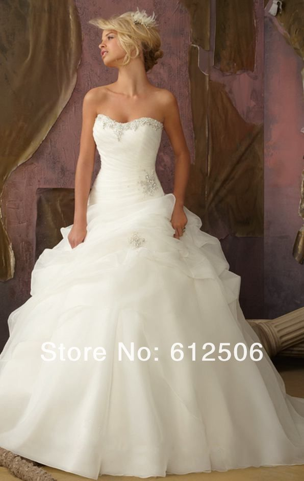 Princess Wedding Dresses   2013 Ivory Strapless princess wedding dresses bridal gowns Ball Gown ...