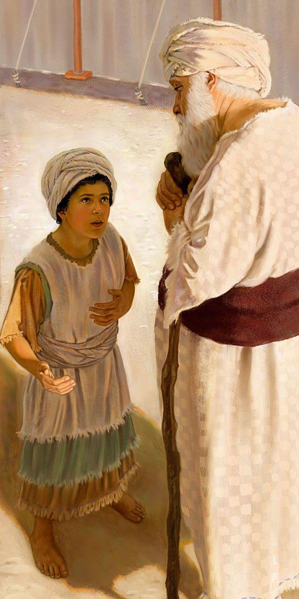 El joven Samuel dándole a Elí el mensaje de juicio de Jehová