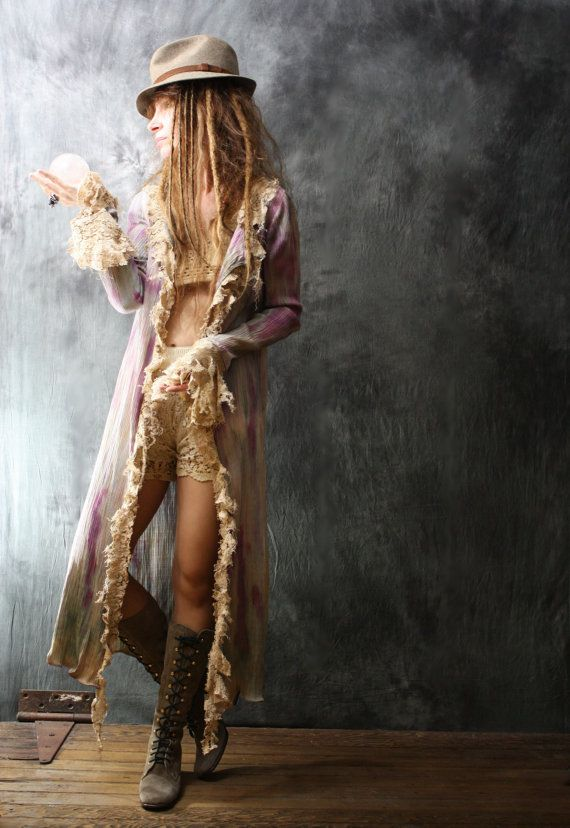 Another Awesome piece! Vintage Style Handmade Dress Duster Jacket Bohemian Hippie Mermaid Hand dyed Shredded Lace