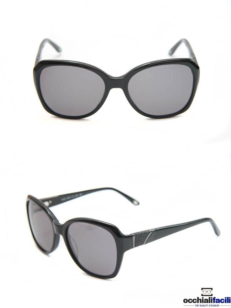 Occhiali da sole Mata CL122 C1,  da donna in celluloide nero lucido, dettaglio in metallo sulle aste e forma over size. http://www.occhialifacili.com/prodotto/occhiali-da-sole-mata-cl122-c1/