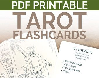 Printable Tarot Deck Flash Cards to learn tarot card meanings