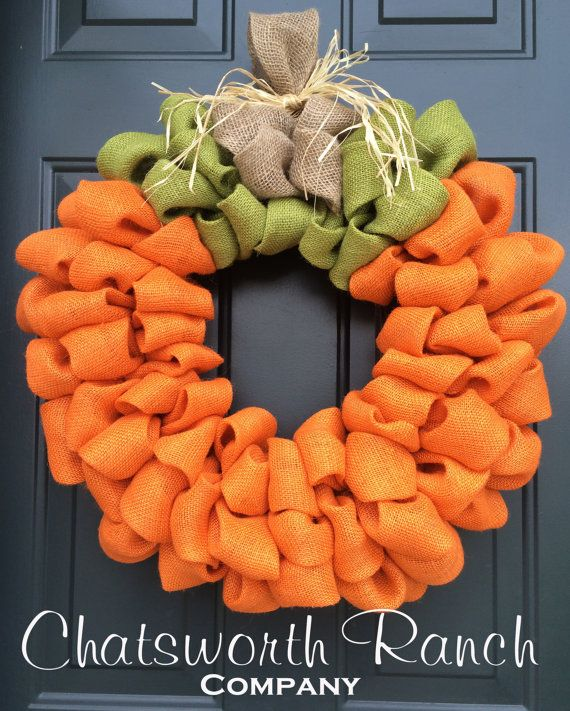 Pumpkin Burlap Wreath Welcome Door Wreath by ChatsworthRanchCo