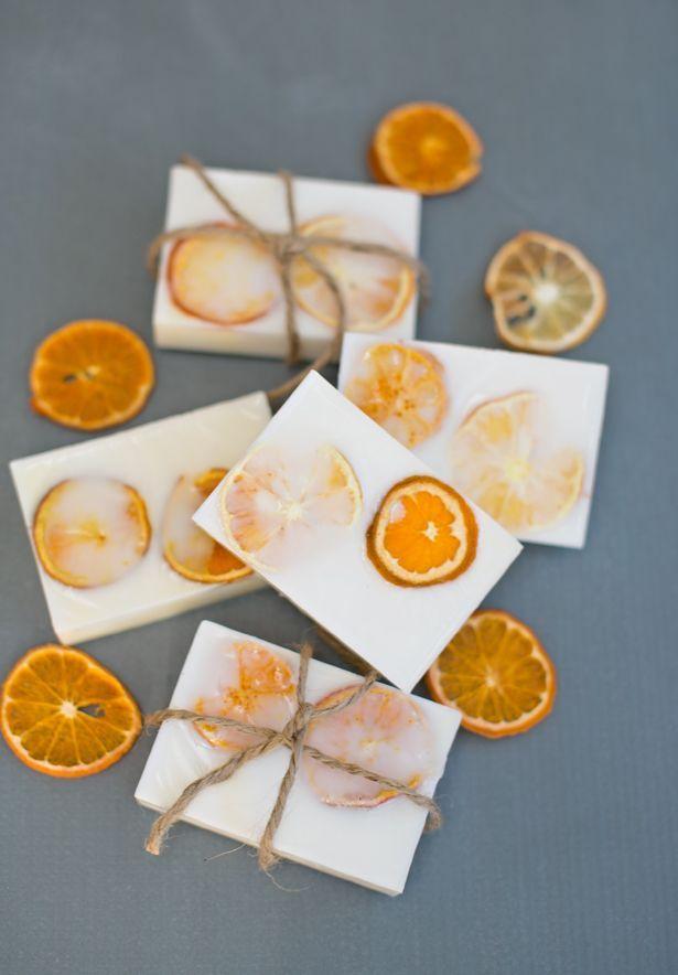 Easy Handmade Goat's Milk Citrus Soaps. Perfect wedding favor. Find dried orange…
