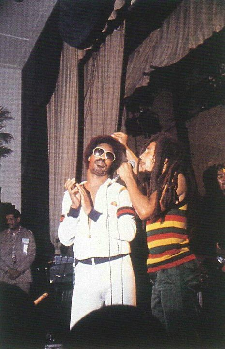 Stevie Wonder and Bob Marley  A very rare picture of two icons of music