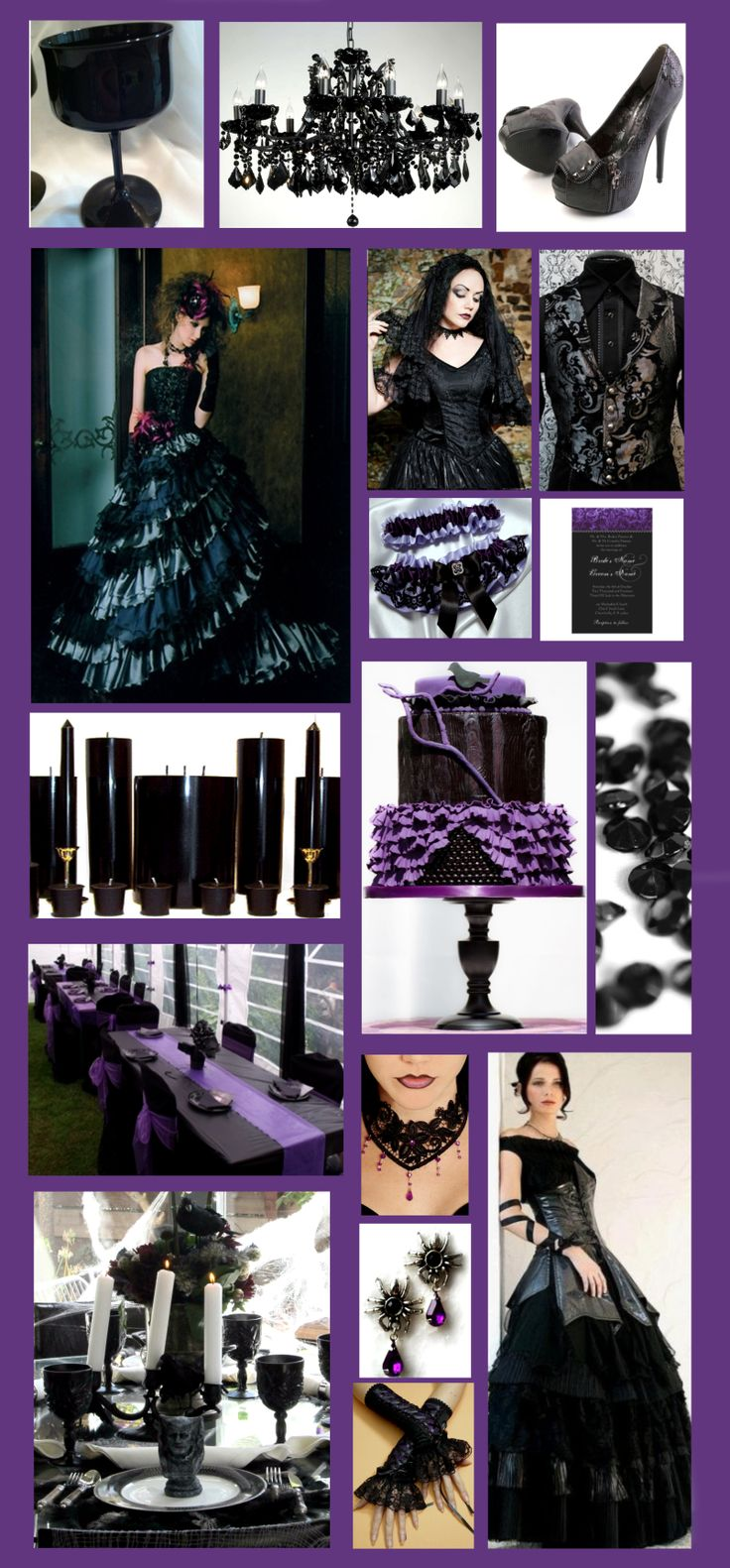 inspiration for a glamorous purple and black gothic style wedding