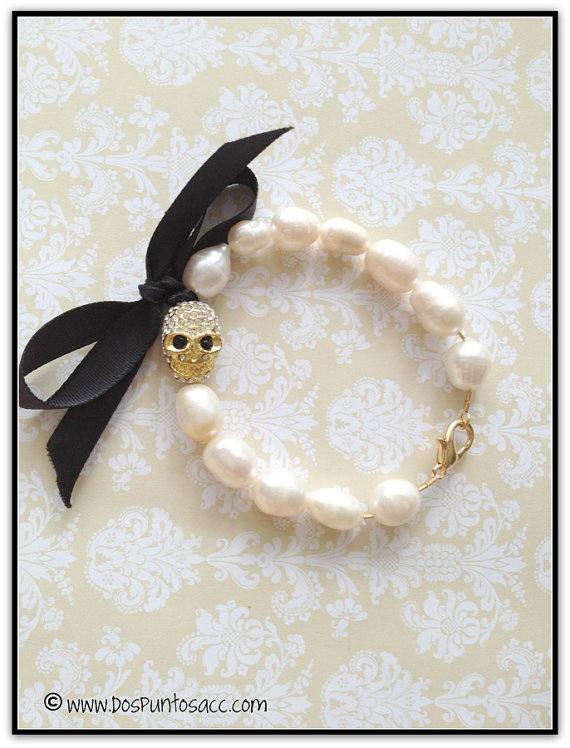 rocker pearl skull bracelet