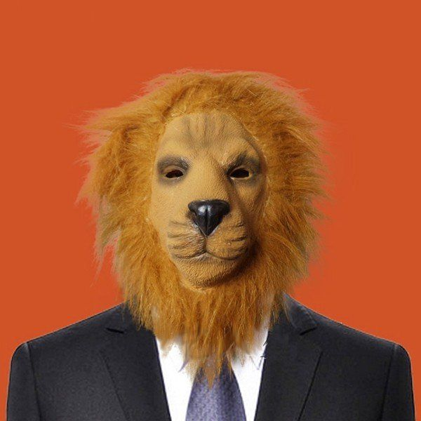 Halloween Lion Dog Cat Wolf Latex Animal Face Mask Costume Party