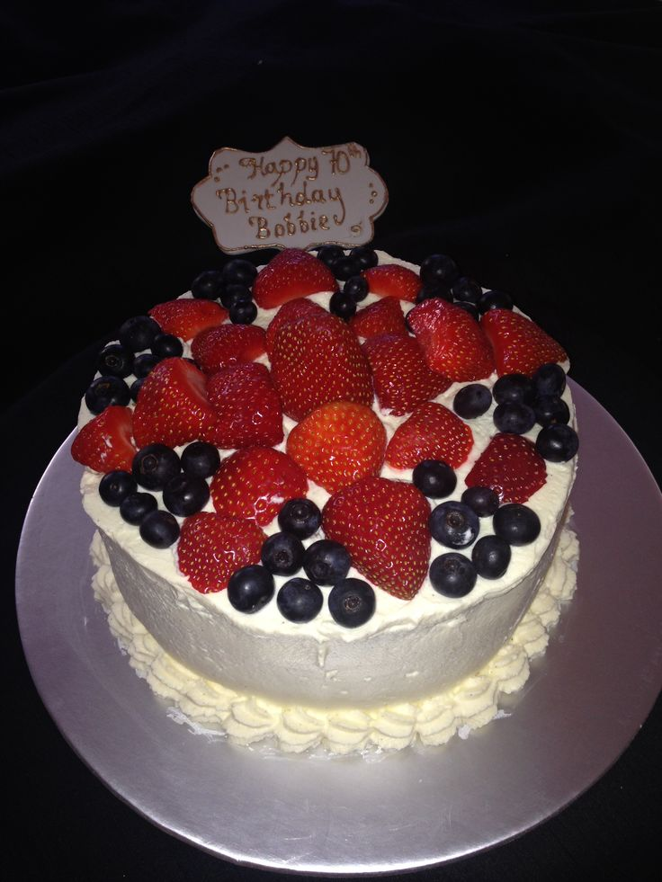 Victoria sponge cake with cream and berries. This cake was made using Xylitol which is suitable for diabetics