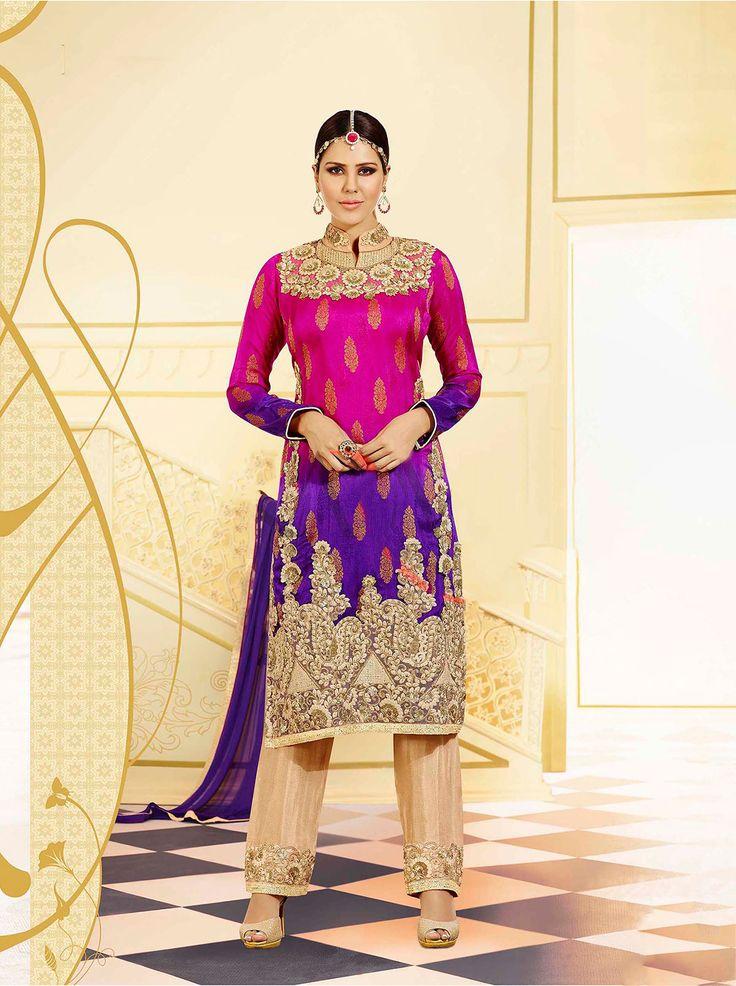 Fabrics:- Pure Viscose Jacquard #PartyWearSuit Price :- Rs.4295/- Design No.:- Sb-4397-4051a