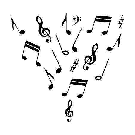 Muzieknoten verspreid muursticker raamsticker