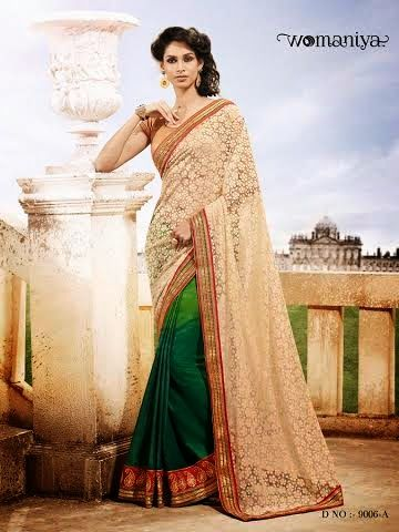 Beautifully designed Shaded Green and Beige Georgette saree with heavy embroidery work en-crafted all over. Comes along with Contrast matching Golden Blouse.