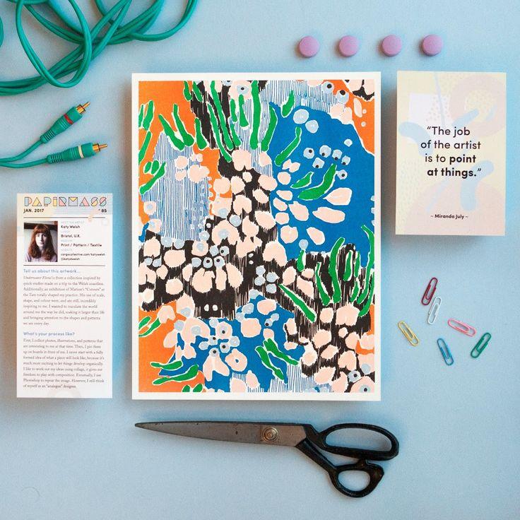 Papirmass Issue 85 featuring the work of Katy Welsh  #papirmass #artsubscription #artwork #creativelife #happylife #artinthemail #art #artprint #subscriptionbox