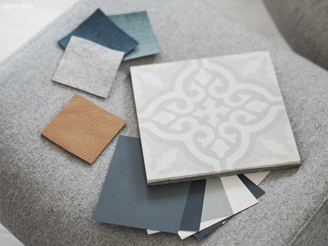 Klassisk hvit, soft mint, .inty breeze, oslo og grå skifer fra Jotun