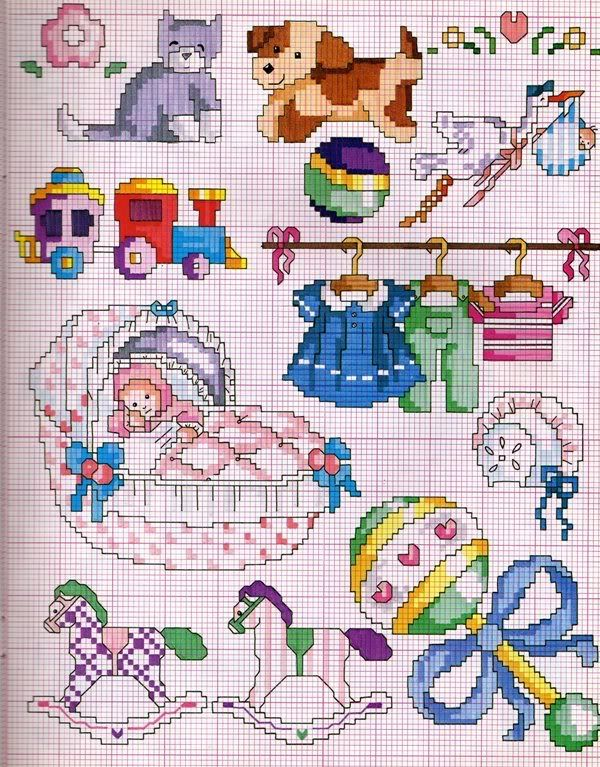 Lindos gráficos de ponto cruz para bebês .Você poderá bordar em roupinhas, fraldas de bebês, mantas, lençóis e toalhas.Use a criatividad...