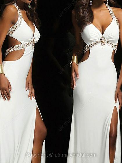 Sheath/Column Straps Silk-like Satin Sweep Train Split Front Prom Dresses -USD$216.60