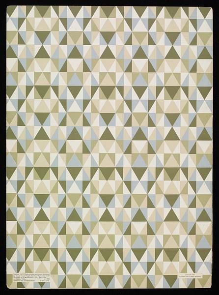 Taliesin Fabric. Designed by Frank Lloyd Wright for Schumacher, USA 1956.  Pinned by Secret Design Studio, Melbourne, www.secretdesignstudio.comFlw Wallpapers, Taliesin, Screens Prints, Geometric Pattern, 1956, Museums Numbers, Frank Lloyd Wright, Design 706, Wallpapers Design