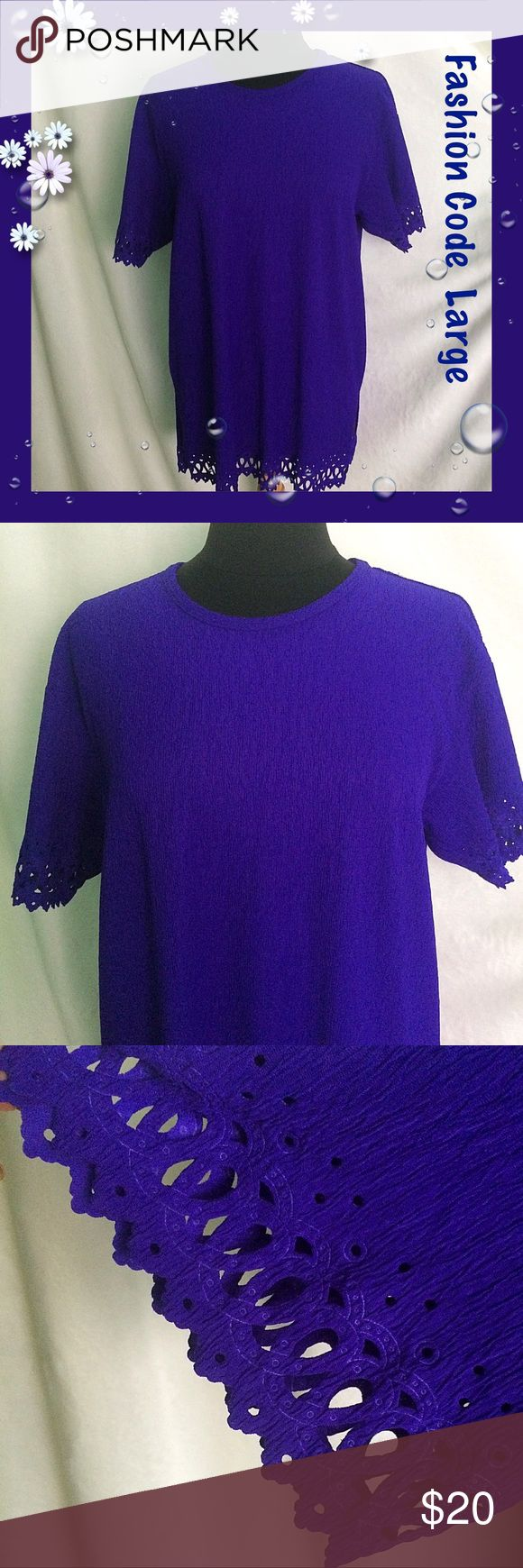 "Fashion Code / Large / Purple Short Sleeve Top Fashion Code / Purple Short Sleeve Crinkle Top  / Cutouts in sleeves & hemline / No tag but probably polyester. Approx Measurements:  Bust 44"" Length  30""                                     FANTASTIC COLOR & VERY COMFY!  Please feel free to make an offer - Enjoy BIG discounts on bundles & save $$$ on shipping! I package safely & ship fast.  TY & Happy Poshing! 💜💜💜 D9 Fashion Code Tops Tunics"