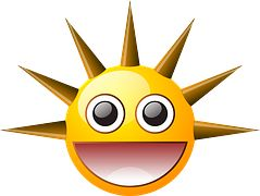 Sun, Smiley, Spikes, Happy, Laughing