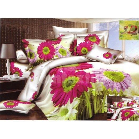 Flanelová posteľná súprava s motívom farebných kvetov